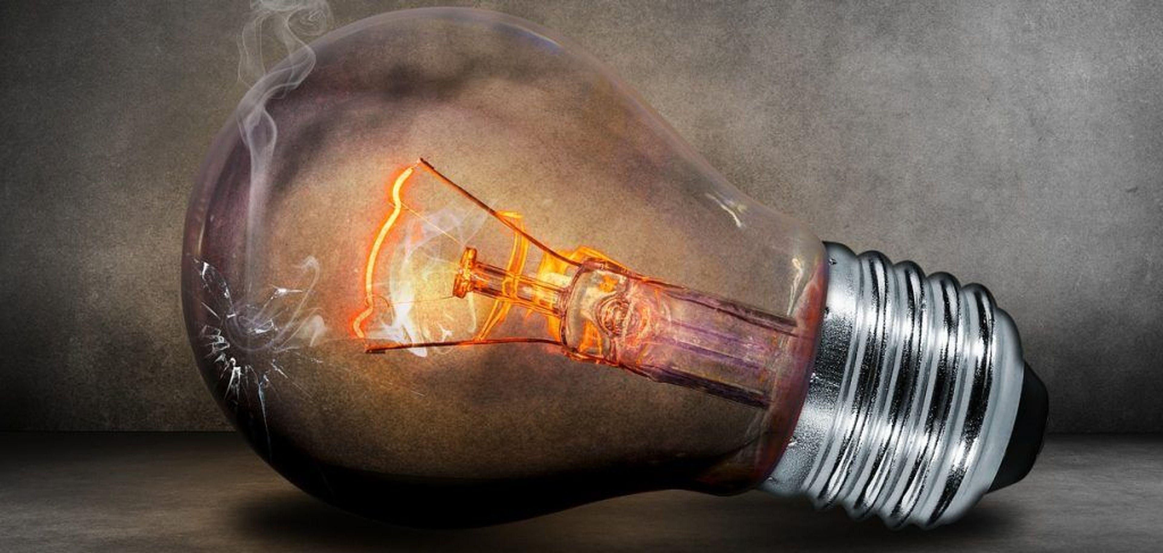 A lightbulb burning out